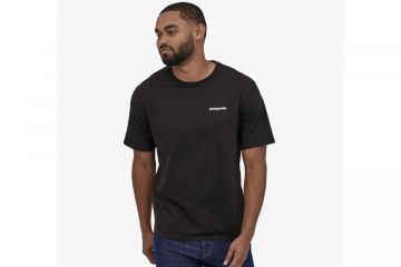PATAGONIA Men's P-6 Logo Organic Cotton T-Shirt BLACK