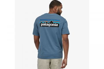 PATAGONIA Men's P-6 Logo Organic Cotton T-Shirt Pigeon Blue